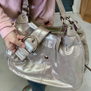Coach Bags - COACH SHIMMER SILVER/PEWTER SOHO LEATHER SATCHEL